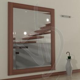 Specchio ingresso, con cornice in legno massello in rovere, tinta ciliegio