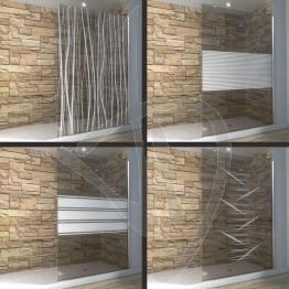 Vetro doccia fisso, su misura, in vetro bronzato decorato