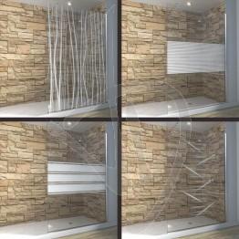 Vetro doccia fisso, su misura, in vetro trasparente decorato